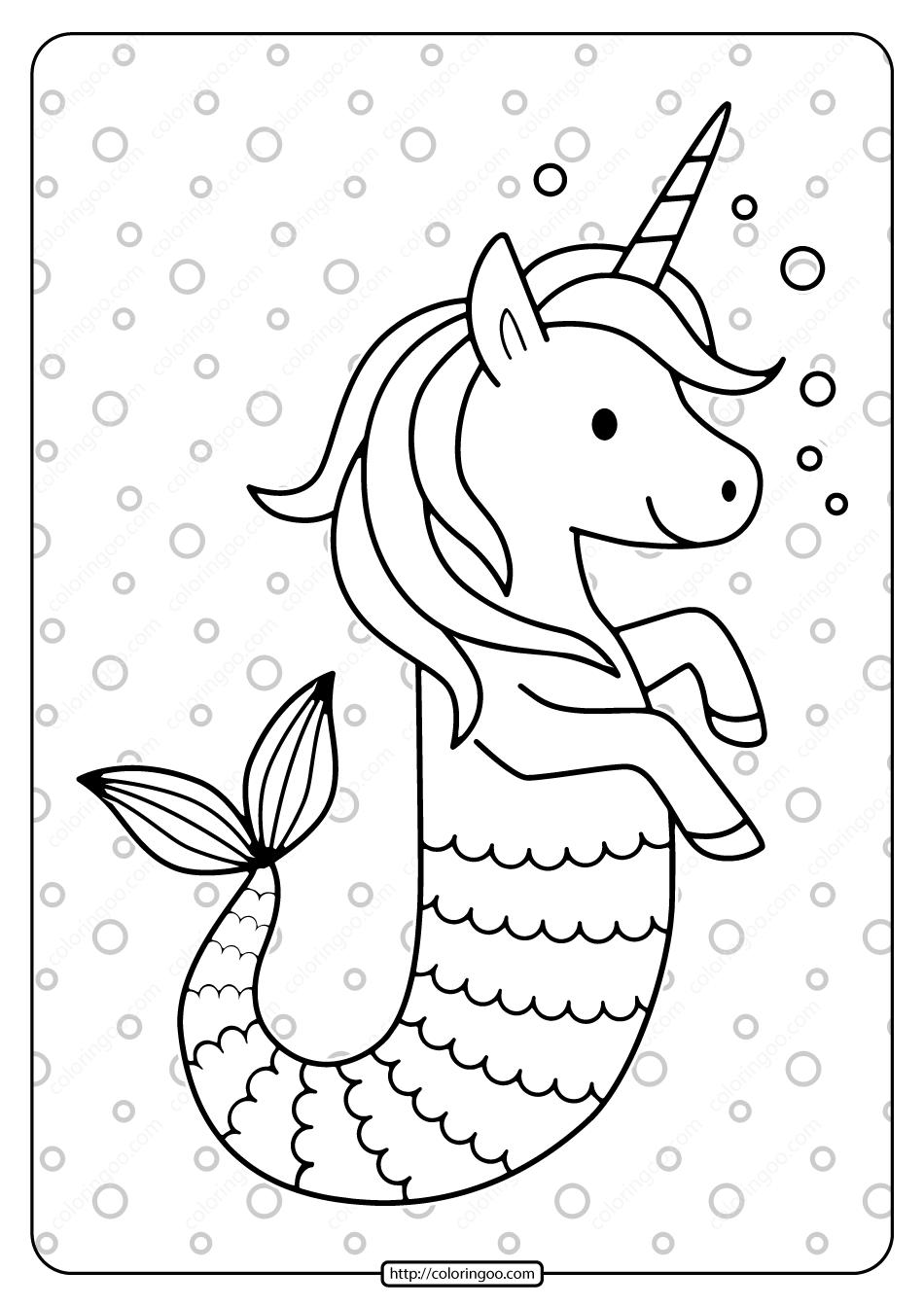 Free Printable Unicorn Seahorse Pdf Coloring Page