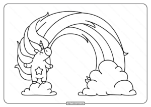 Printable Unicorn with A Rainbow Coloring Page