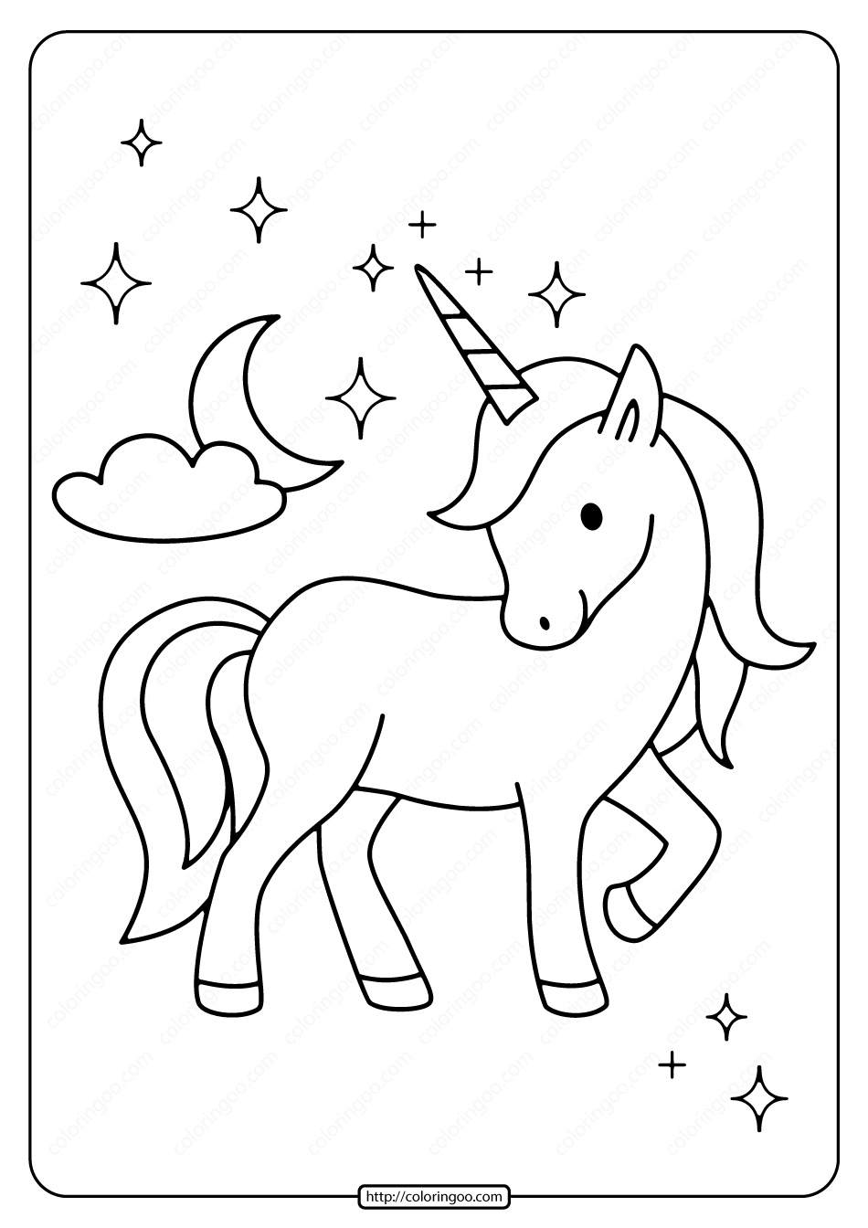 Printable Unicorn with The Moon Coloring Page