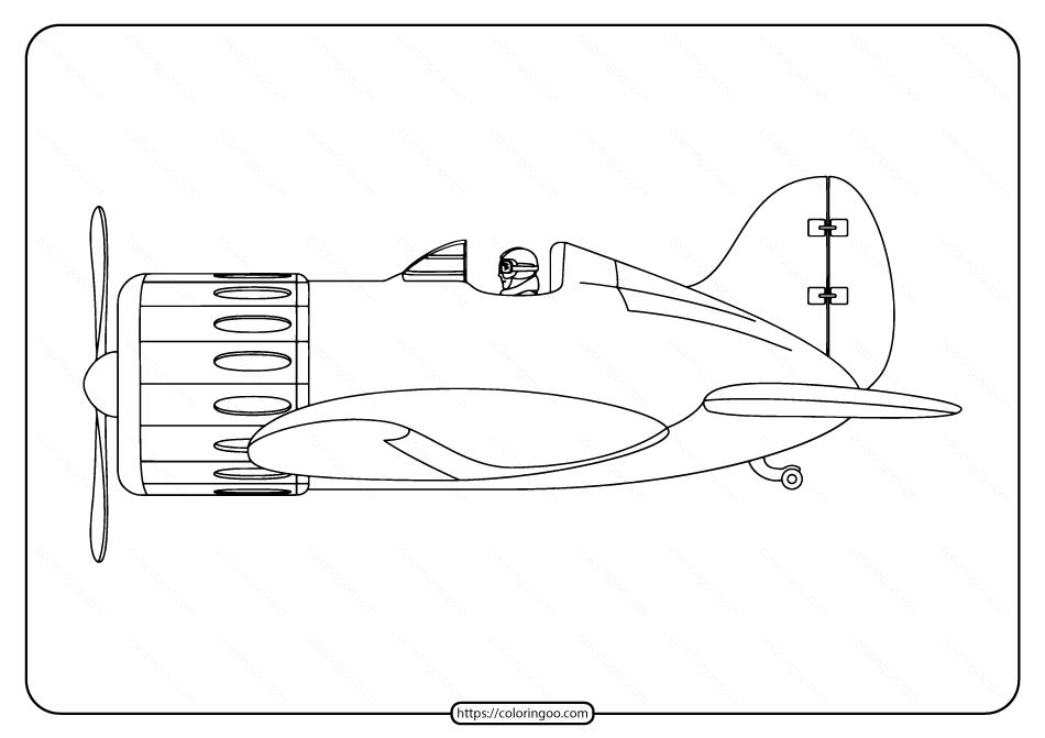 Free Printable War Plane Pdf Coloring Page