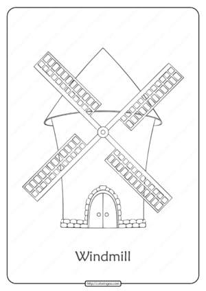 Free Printable Windmill Pdf Coloring Page