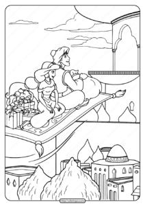 Princess Jasmine and Aladdin Coloring Page
