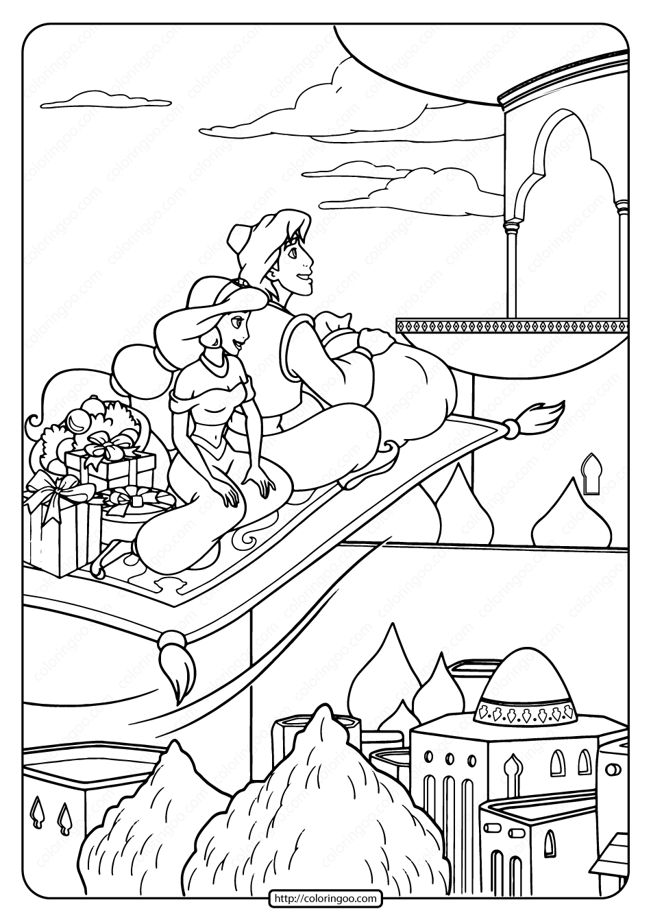 Princess Jasmine Got A Gift On The Day Of Christmas Coloring Pages ... | 1344x950