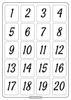 Printable 1 to 20 Rectangle Border Numbers Worksheet 01