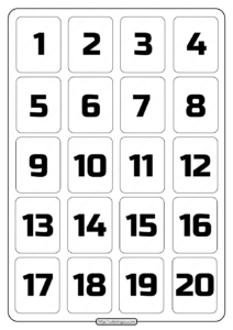 Printable 1 to 20 Rectangle Border Numbers Worksheet 02