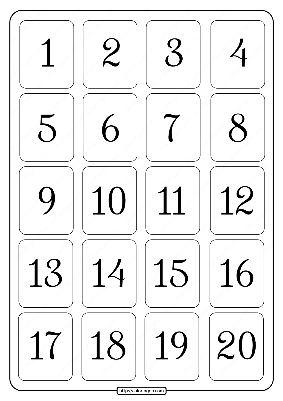 Printable 1 to 20 Rectangle Border Numbers Worksheet 03