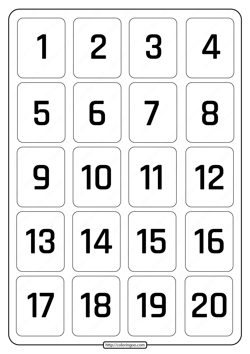Printable 1 to 20 Rectangle Border Numbers Worksheet 04