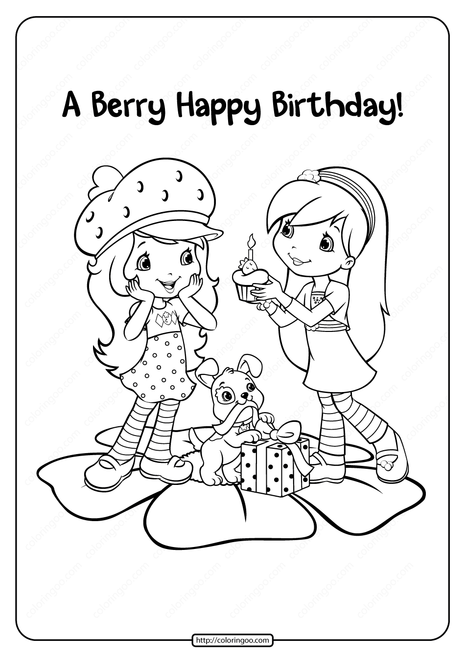 Printable A Berry Happy Birthday Coloring Page