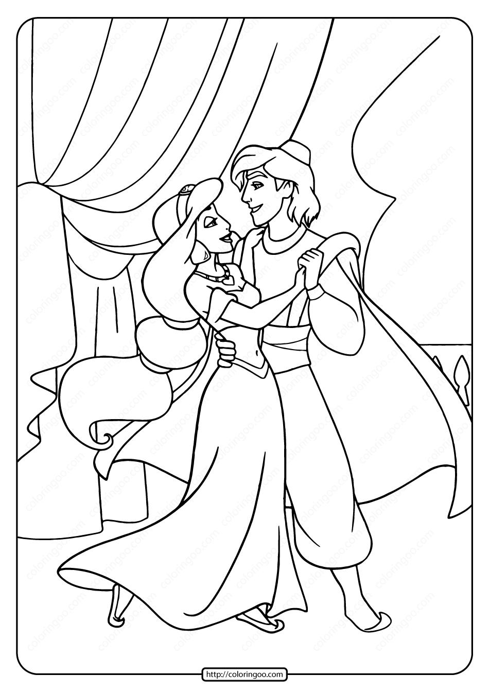 Printable Aladdin and Jasmine Dancing Coloring Page