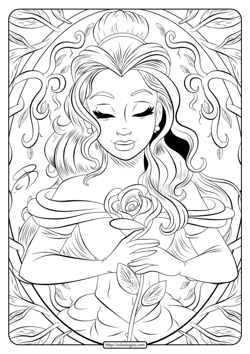 Printable Beauty and the Beast Belle Coloring Page