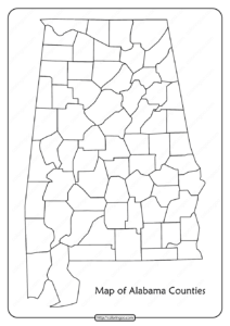 Printable Blank Map of Alabama Counties Pdf Worksheet