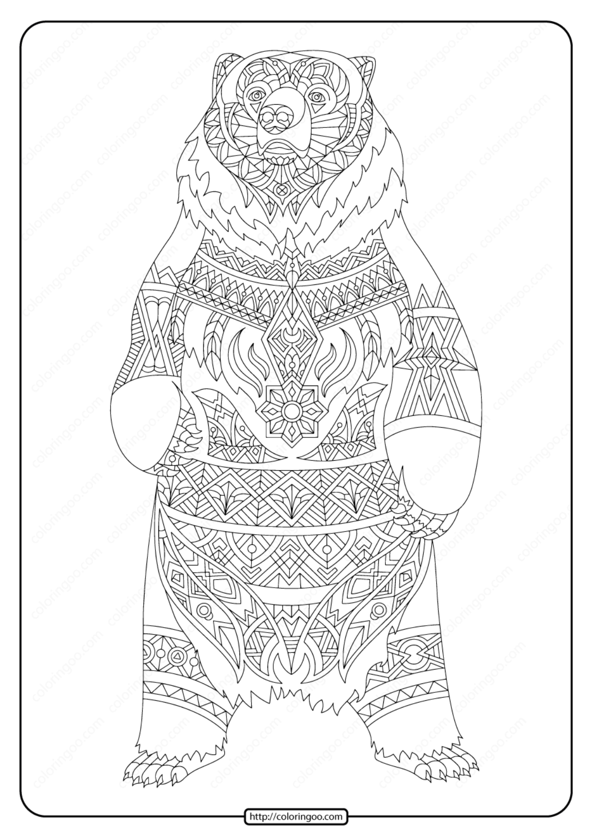 Printable illustration Bear Adult Coloring Page