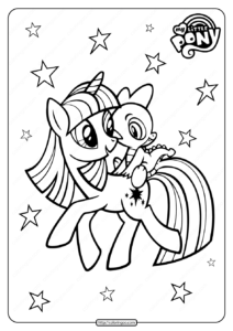 Printable MLP Twilight Sparkle & Spike Coloring Page