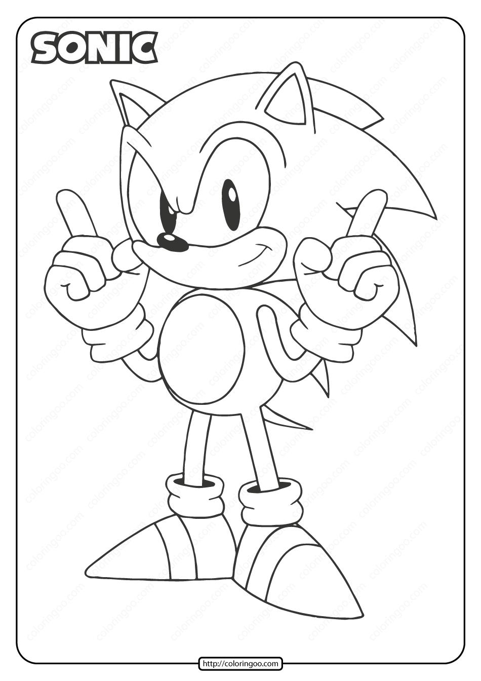 Printable Sonic Pdf Coloring Page