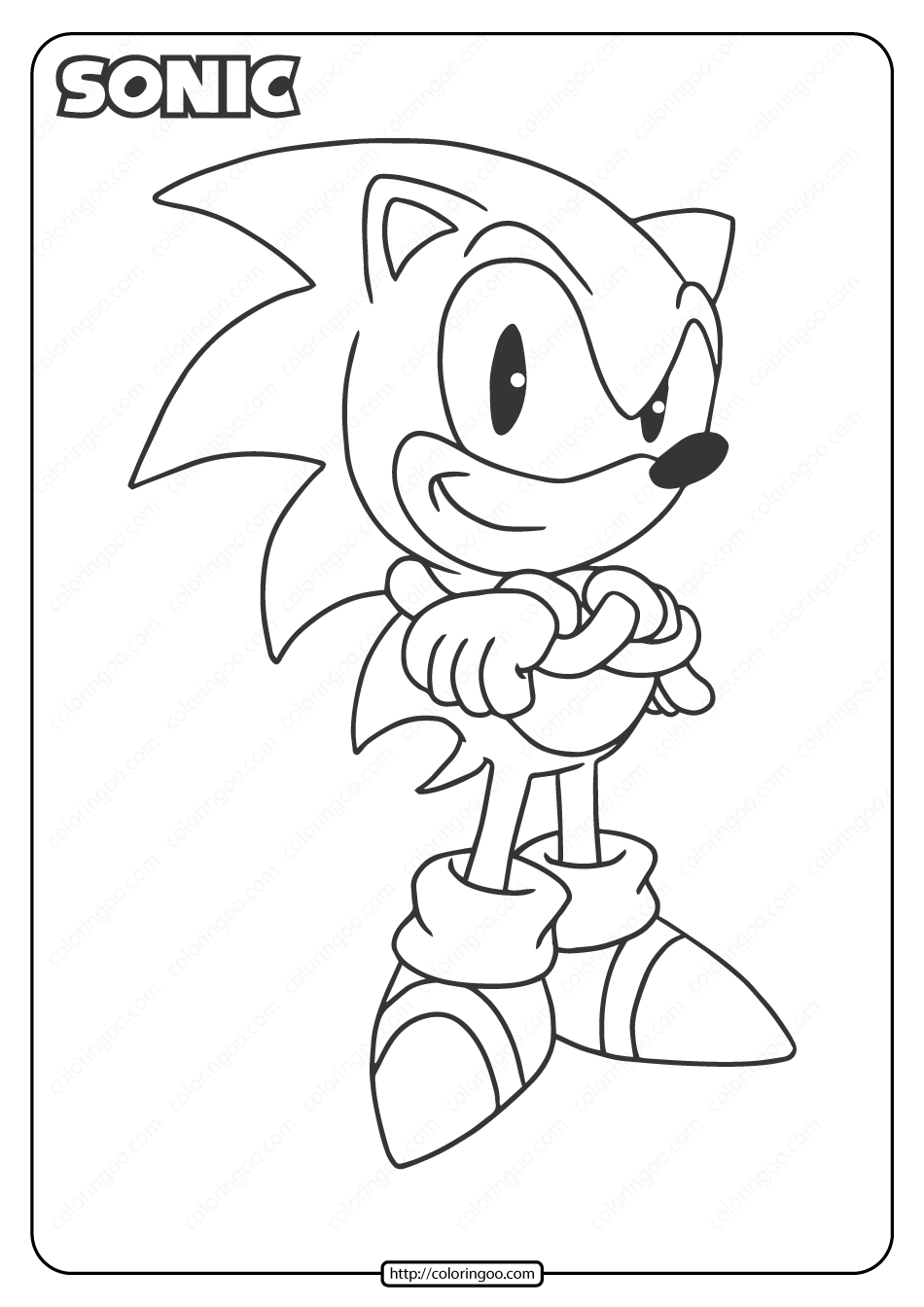 Printable Sonic the Hedgehog Pdf Coloring Page
