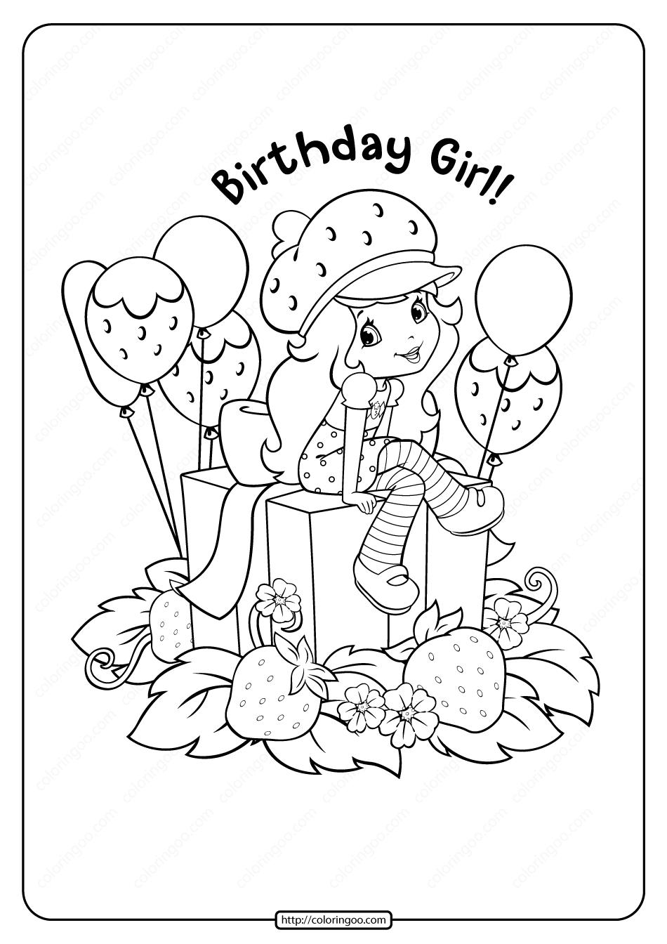 Printable Strawberry Shortcake Birthday Girl