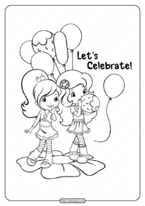 Printable Strawberry Shortcake Celebrate Coloring