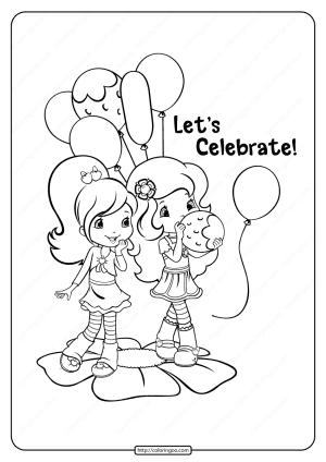 Printable Strawberry Shortcake Celebrate Coloring