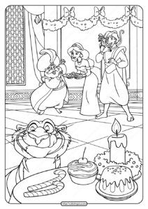 Printable Sultan Aladdin and Jasmine Pdf Coloring Page