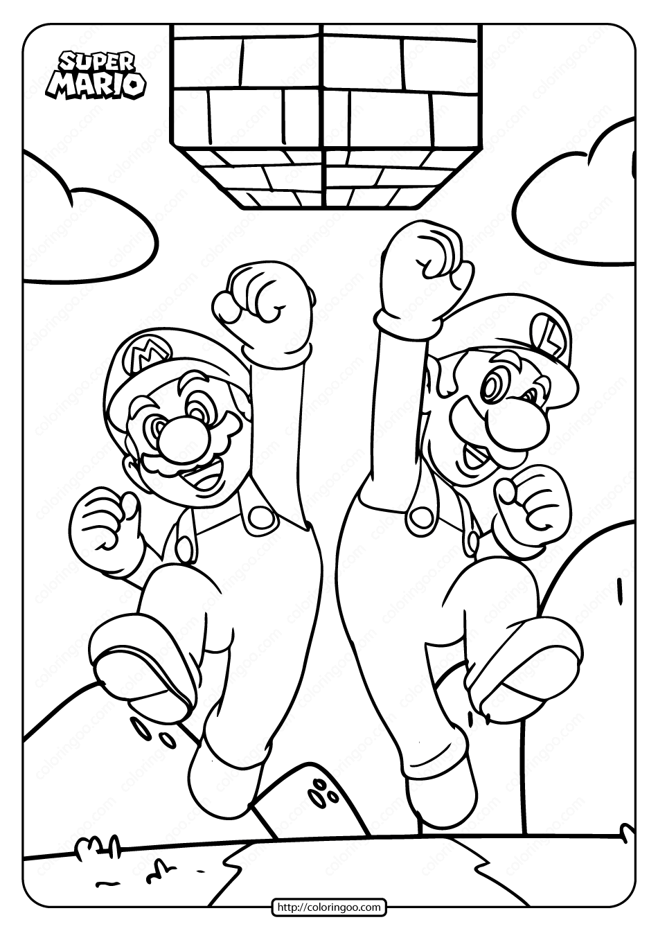 Printable Super Mario Bros Pdf Coloring Page