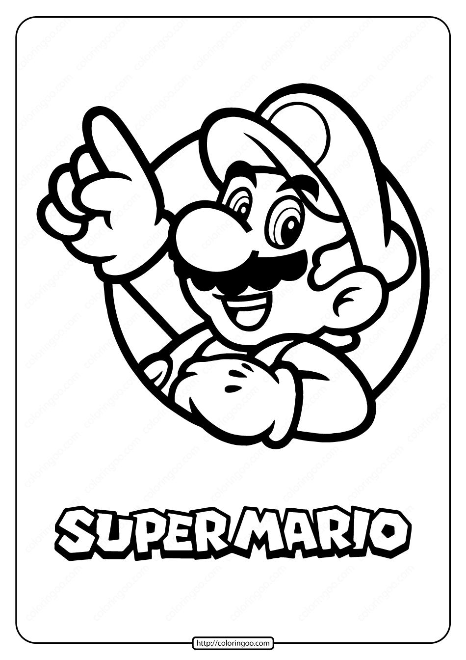 Printable Super Mario Pdf Coloring Page