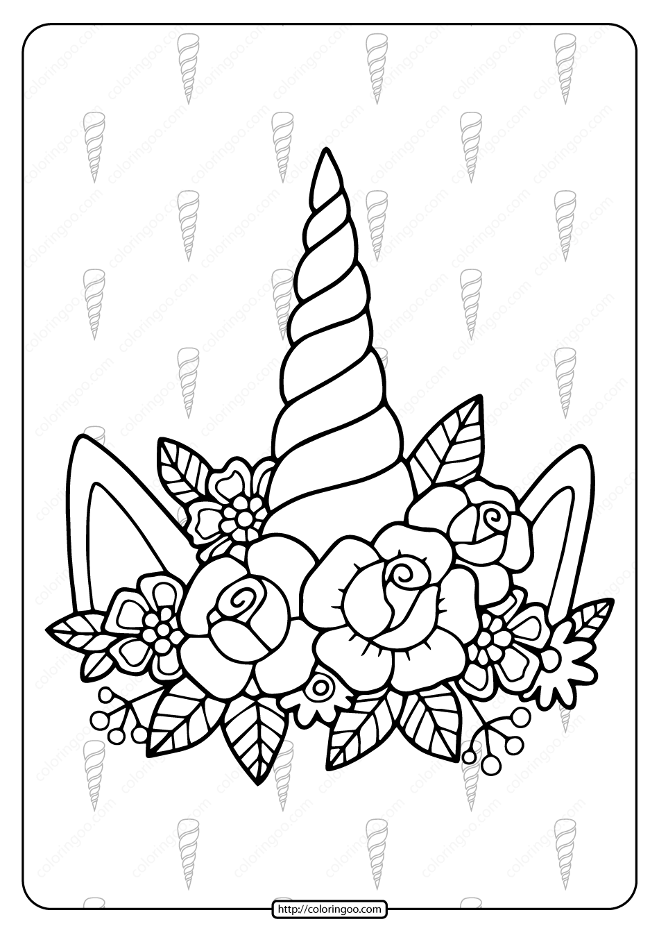 Printable Unicorn Horn and Flowers Coloring Page