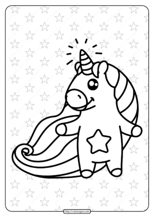 Printable Unicorn with Star Belly Coloring Page