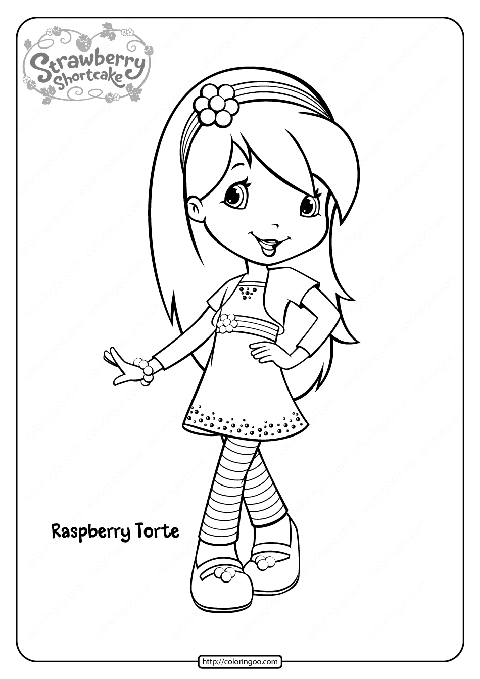 Raspberry Torte Printable Coloring Pages