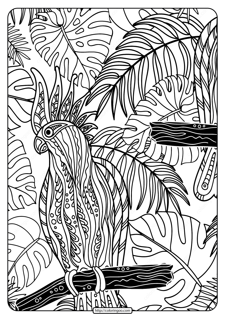 Free Printable Cockatoo Bird Pdf Coloring Page