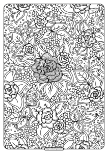Free Printable Flower Pattern Coloring Page 01