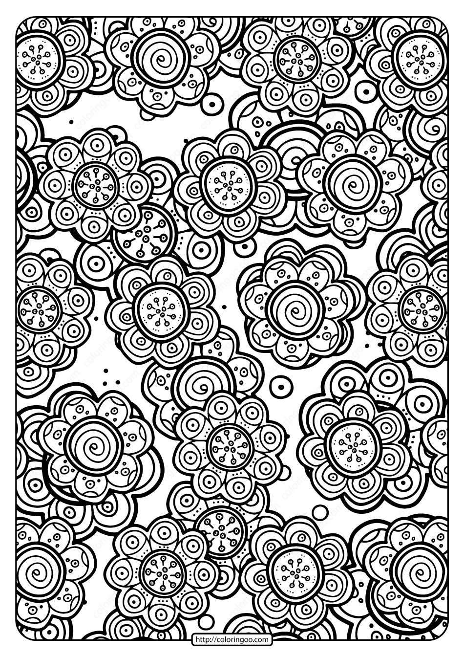 Free Printable Flower Pattern Coloring Page 02