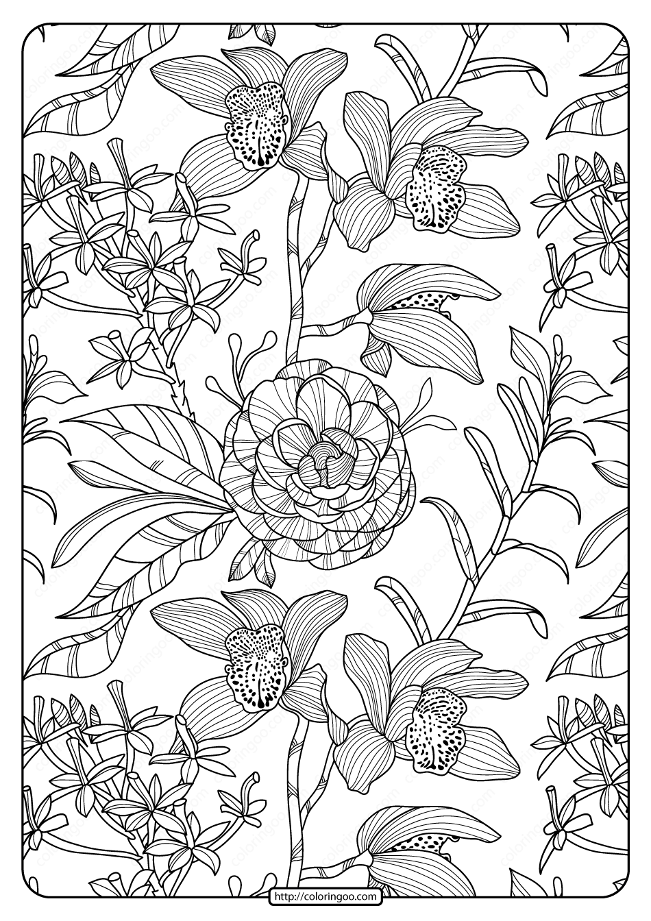 Free Printable Flower Pattern Coloring Page 03