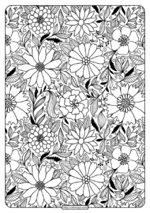 Free Printable Flower Pattern Coloring Page 06