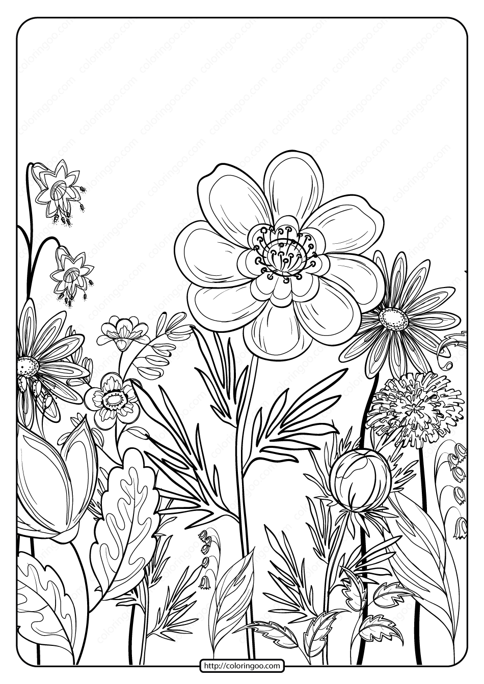 Free Printable Flower Pattern Coloring Page 07