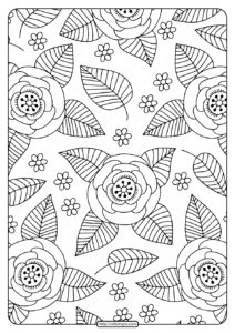 Free Printable Flower Pattern Coloring Page 08
