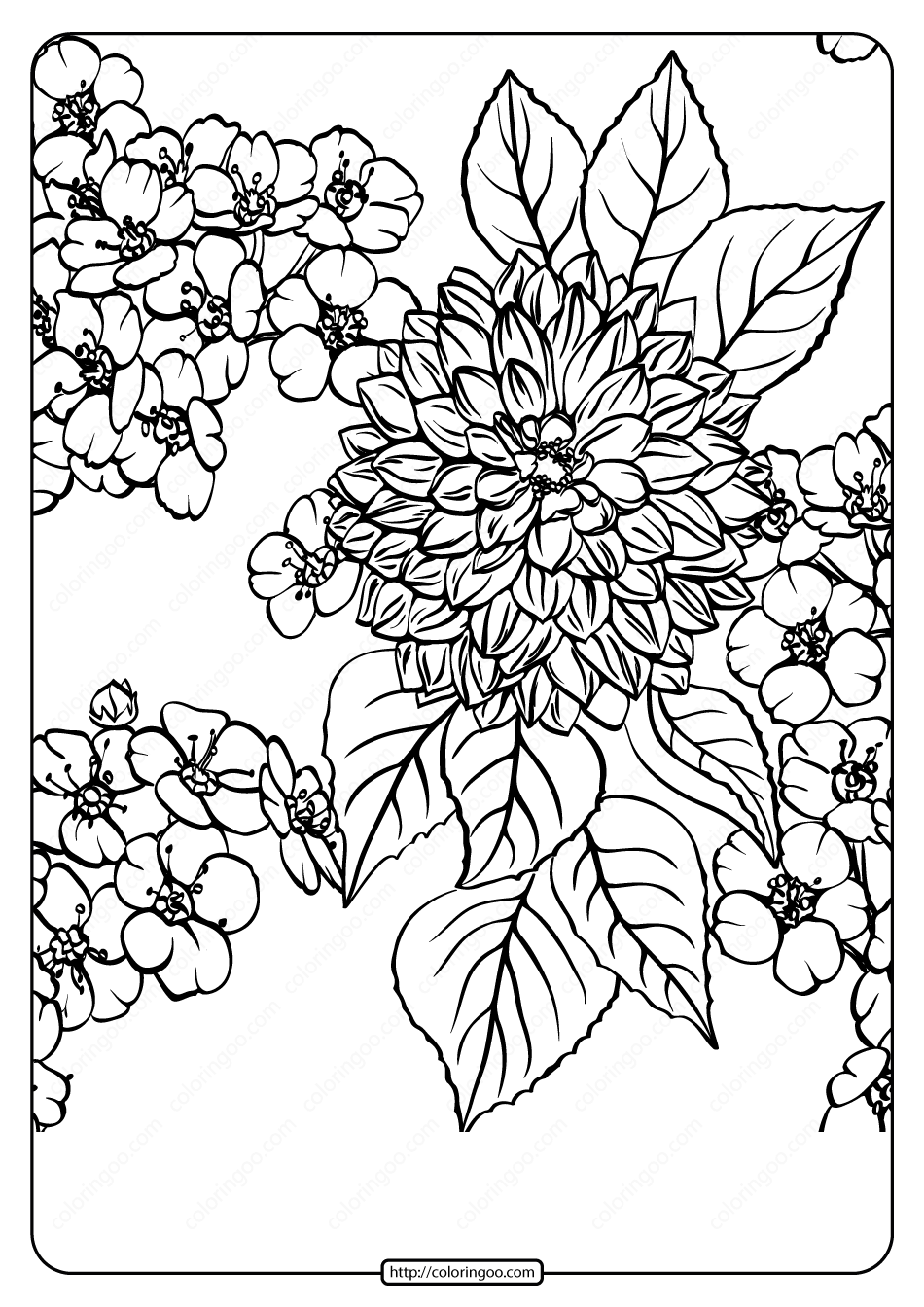 Free Printable Flower Pattern Coloring Page 09