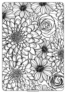 Free Printable Flower Pattern Coloring Page 11