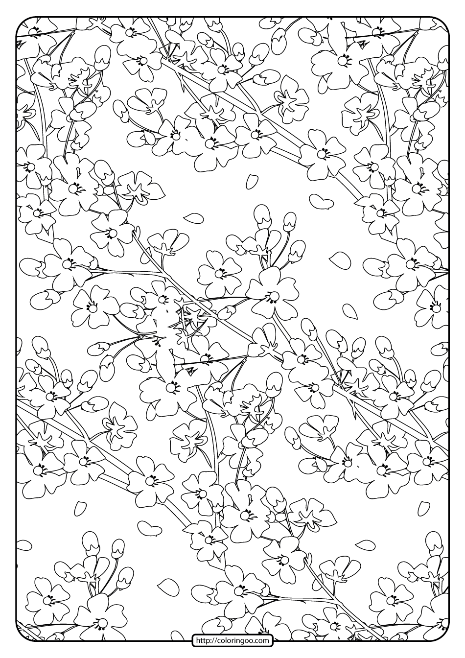 Free Printable Flower Pattern Coloring Page 12