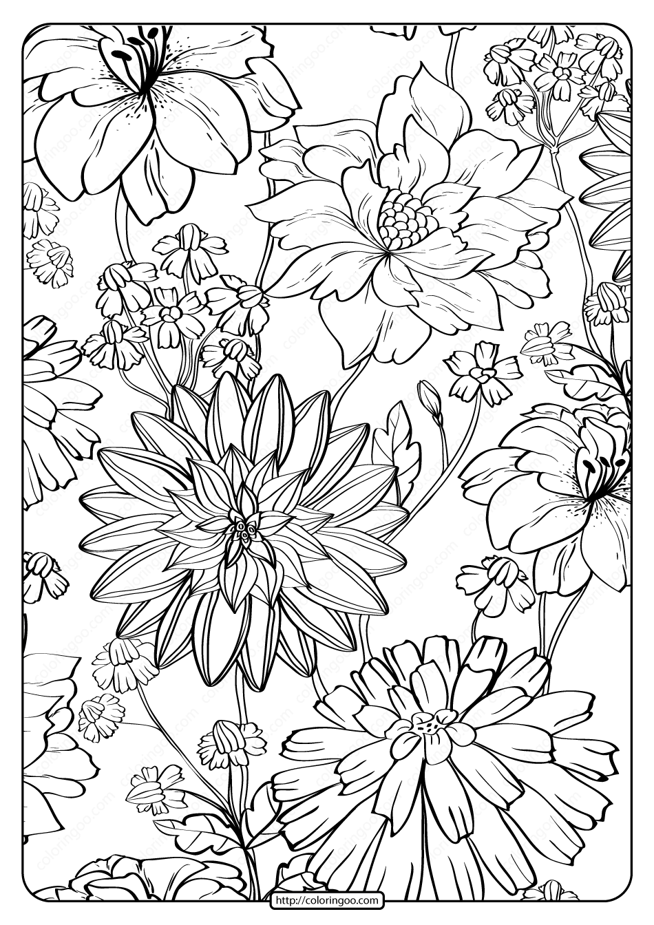 Free Printable Flower Pattern Coloring Page 13