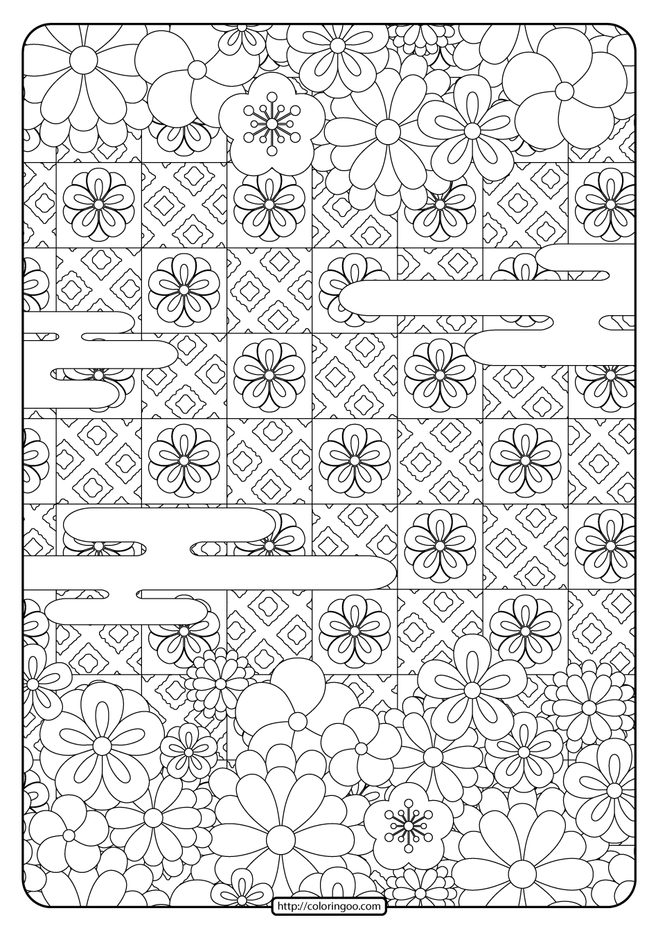 Free Printable Flower Pattern Coloring Page 15
