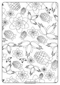 Free Printable Flower Pattern Coloring Page 16