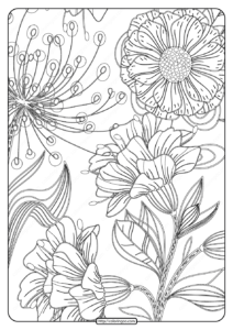 Free Printable Flower Pattern Coloring Page 17