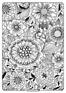 Free Printable Flower Pattern Coloring Page 18