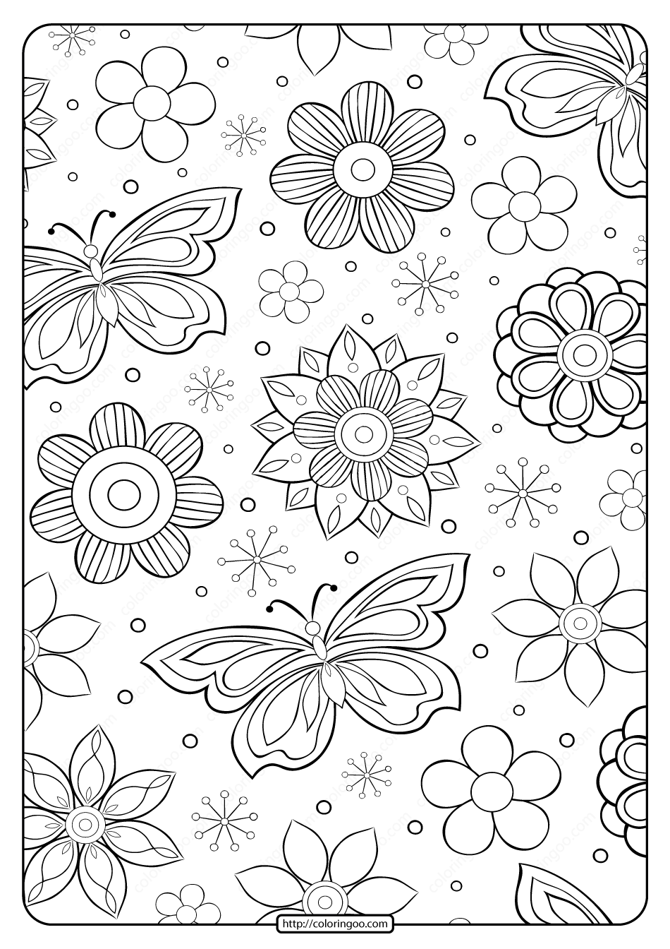 Free Printable Flower Pattern Coloring Page 19
