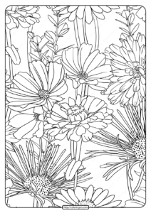 Free Printable Flower Pattern Coloring Page 20