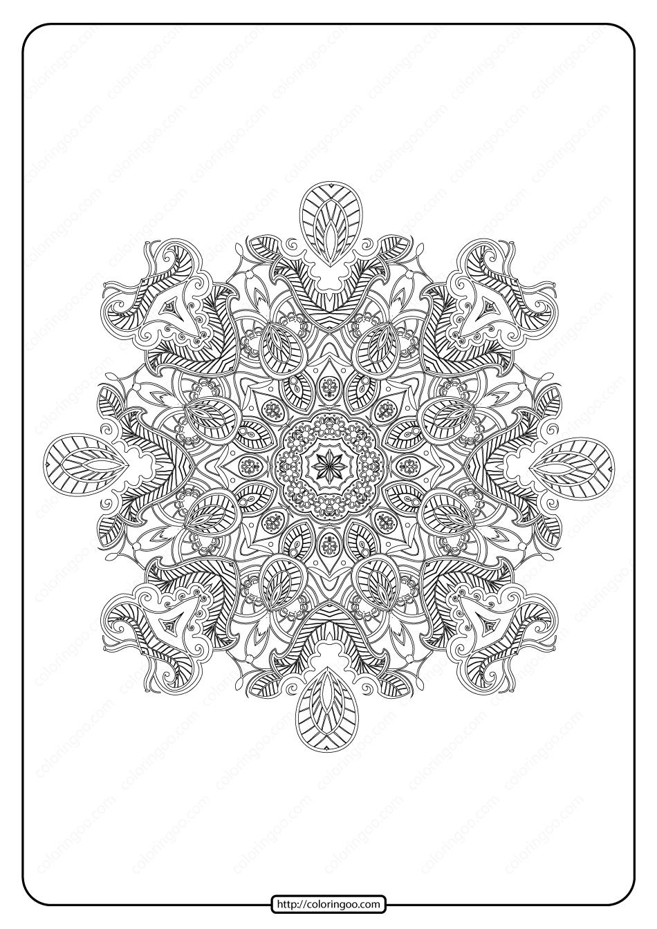 Free Printable Mandala Pattern Coloring Page 38