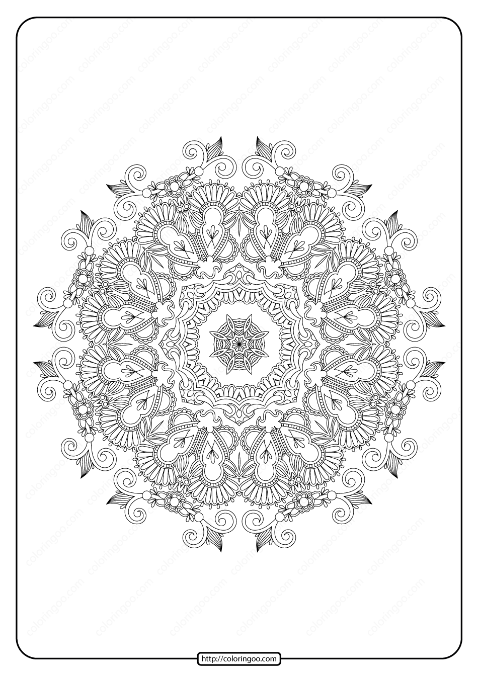 Free Printable Mandala Pattern Coloring Page 40