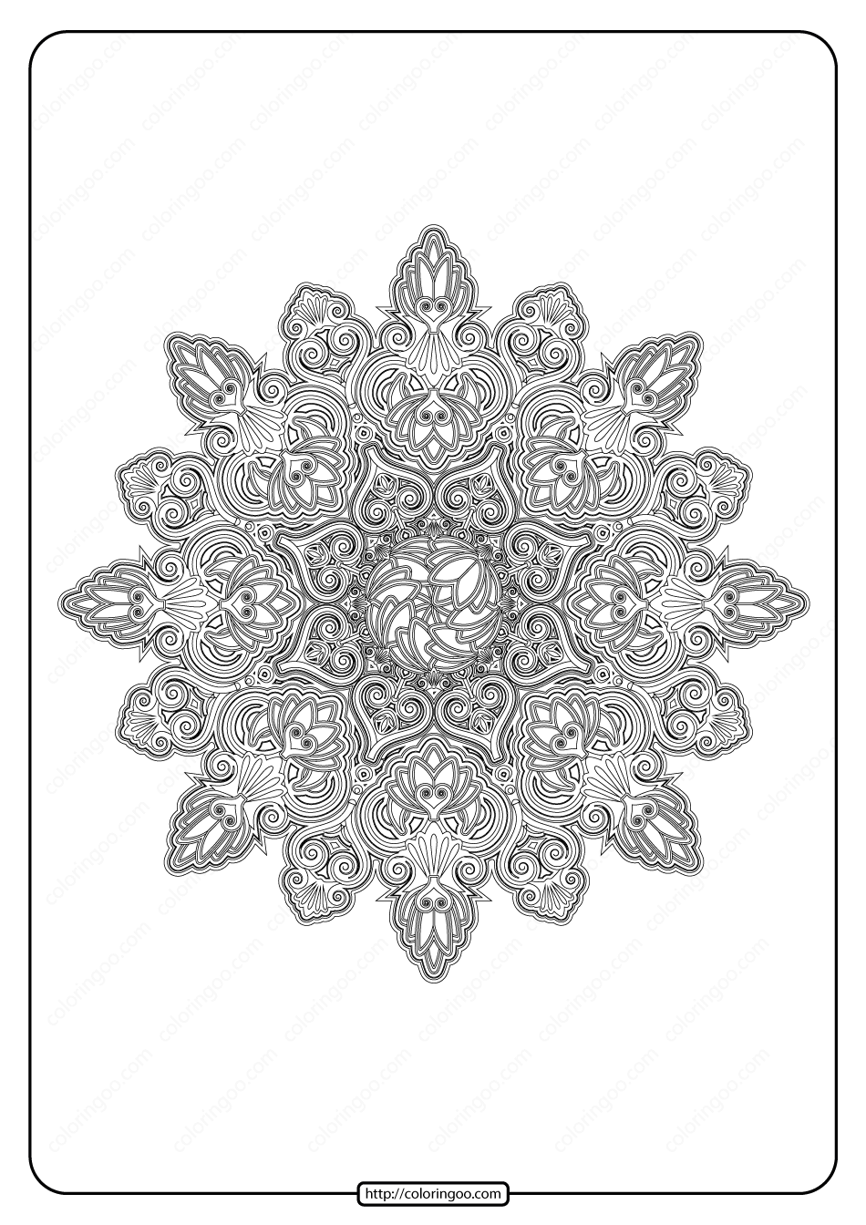 Free Printable Mandala Pattern Coloring Page 42