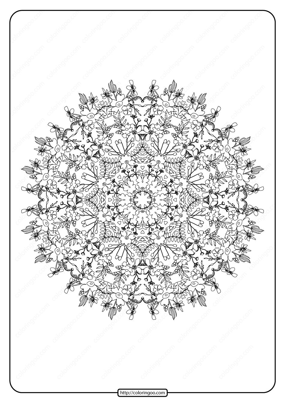 Free Printable Mandala Pattern Coloring Page 47