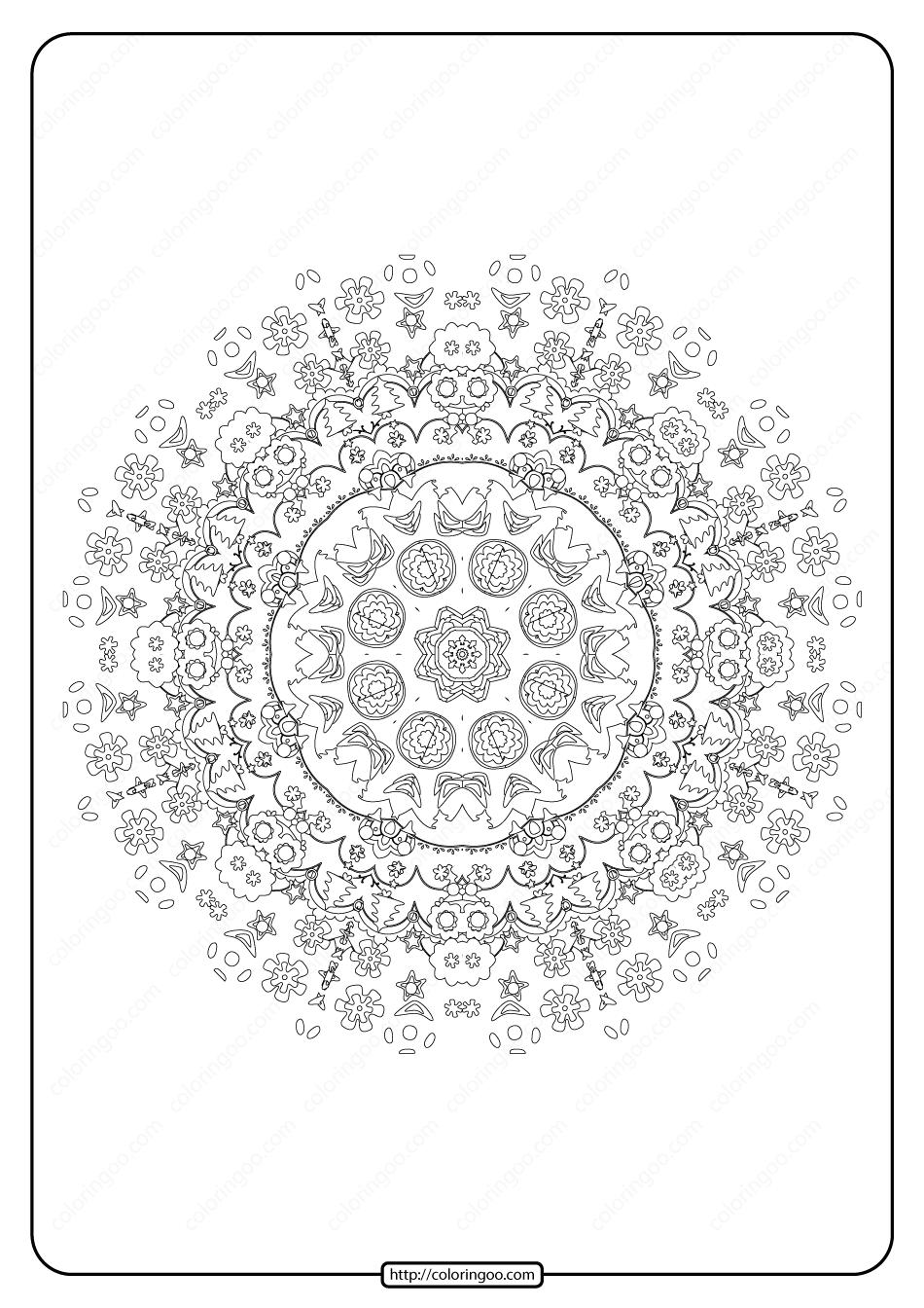 Free Printable Mandala Pattern Coloring Page 49